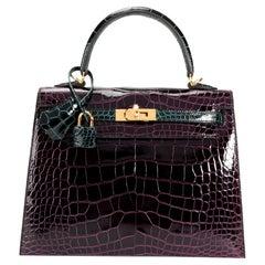 NIB Hermès HSS Amethyste & Vert Cypress Shiny Alligator Sellier Kelly 25 GHW