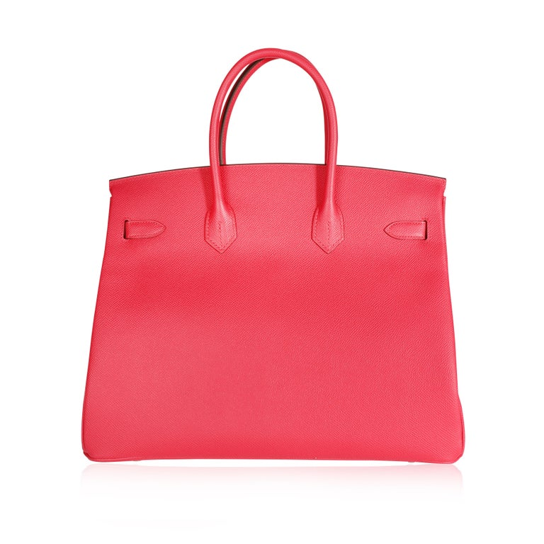 Red NIB Hermès Rose Extreme Epsom Birkin 35 PHW For Sale