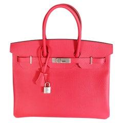 NIB Hermès Rose Extreme Epsom Birkin 35 PHW