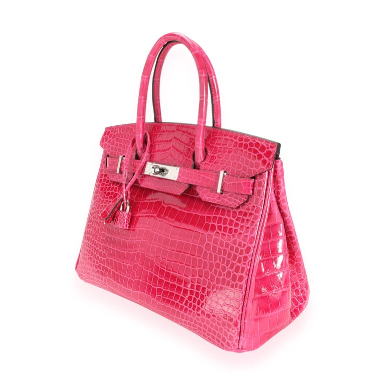 NIB Hermès Rose Mexico Shiny Porosus Crocodile Birkin 30 PHW SKU: 111726 MSRP:   Condition: Pre-owned (3000) Condition Description:  Handbag Condition: Mint Condition Comments: Mint Condition. Plastic on hardware. No visible signs of wear. Final