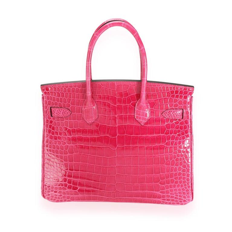 Red NIB Hermès Rose Mexico Shiny Porosus Crocodile Birkin 30 PHW For Sale