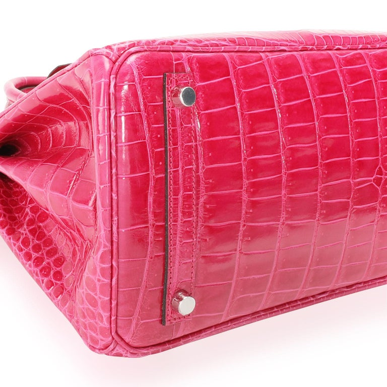 NIB Hermès Rose Mexico Shiny Porosus Crocodile Birkin 30 PHW In Excellent Condition For Sale In New York, NY