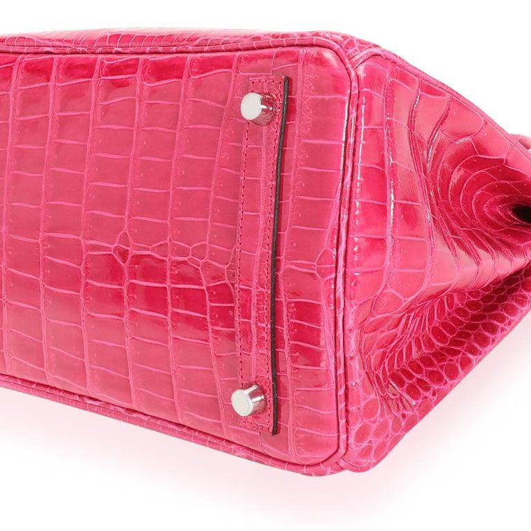 Women's NIB Hermès Rose Mexico Shiny Porosus Crocodile Birkin 30 PHW For Sale