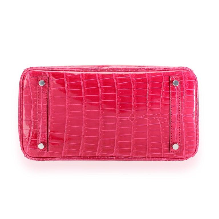 NIB Hermès Rose Mexico Shiny Porosus Crocodile Birkin 30 PHW For Sale 1