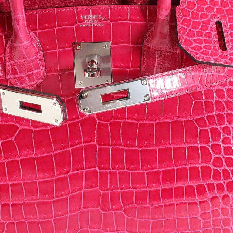 NIB Hermès Rose Mexico Shiny Porosus Crocodile Birkin 30 PHW For Sale 3