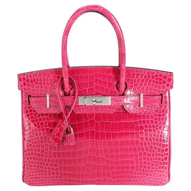 NIB Hermès Rose Mexico Shiny Porosus Crocodile Birkin 30 PHW For Sale