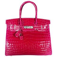 NIB Hermès Rose Pourpre Shiny Niloticus Crocodile Birkin 30 PHW