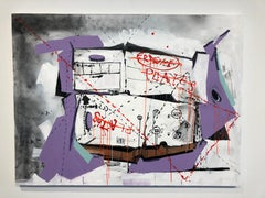 Nic Mathis, Untitled (moving box), mixed media on canvas wall art