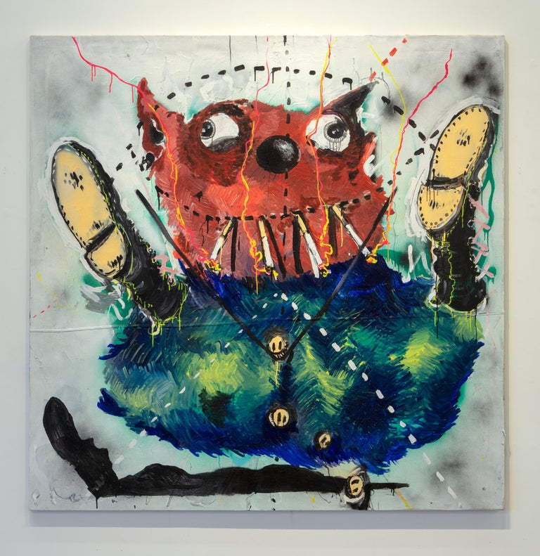 Nic Mathis, Untitled (Pizza), acrylic on canvas abstract monster unique wall art - Painting by Nic Mathis
