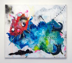 Nic Mathis, Untitled (Reclining), large monster acrylic wall painting