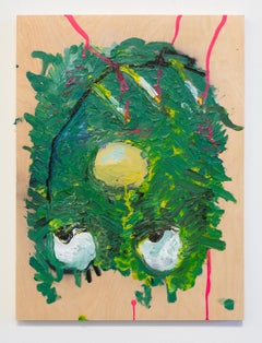 Nic Mathis, Untitled (Small Smoker 1), abstract monster painting on wood panel