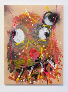 Nic Mathis, Untitled (Small Smoker 2), abstract monster wall painting on wood