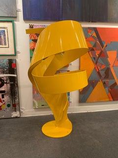 """California Sun"", Nic Noblique, Yellow Powder Coated Steel Sculpture 52x28x28 in"
