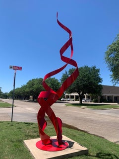 """""""Equalized"""", Nic Noblique, Large Red Powder Coated Steel Sculpture, 144x60x54 in"""