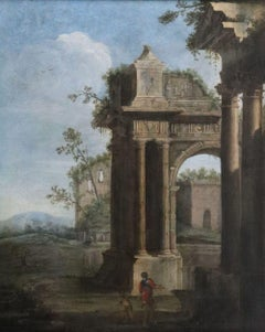 An Architectural Capriccio of Roman Ruins with a Soldier and a Boy