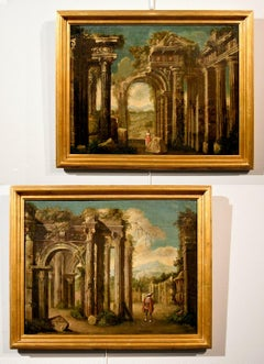 Ruins Landscape Codazzi Paint Oil on canvas Old master 18th Century Roma Italy