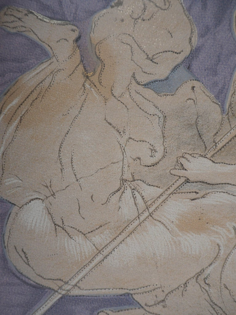 Victory Angel - Lithograph - Gray Figurative Print by Niccolo dell'Abbate