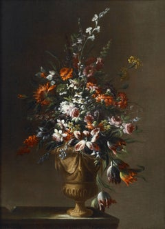 17th Century Niccolò Stanchi Still Life Vase of Flowers Oil on Canvas Red Blue