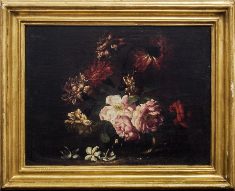 Pair fo Still Lives - Original Oil on Canvas by N. Stanchi - Late 17th Century - Black Still-Life Painting by Niccolò Stanchi