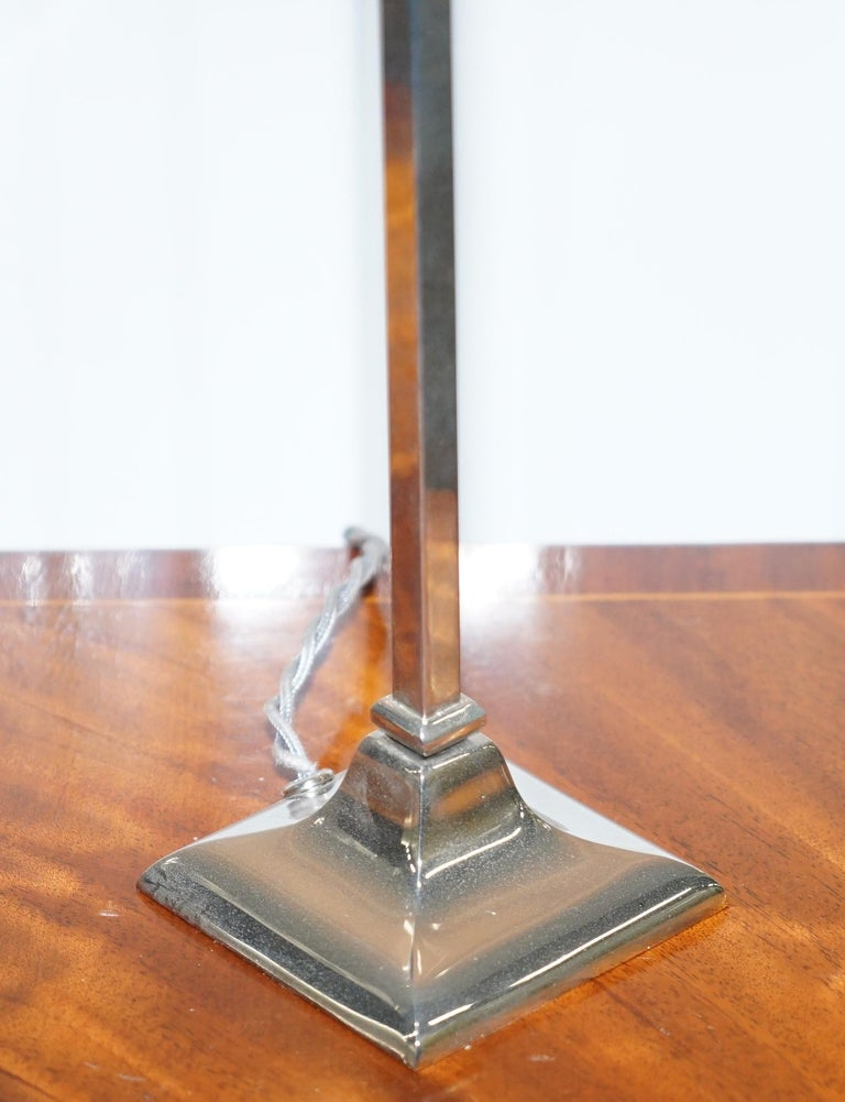 Modern Nice Contemporary Chromed Metal Table Lamp Long Elegant Styling For Sale