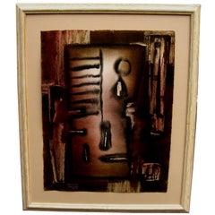 Nice abstract Gouache by listed European artist Rosario Moreno