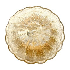 Nice Amber Glass Round Flower Shape Flush Mount, Germany, 1960s