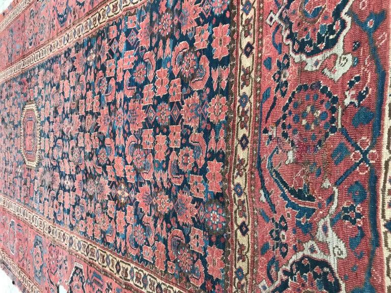 Nice Antique Long Beshir Afghan Rug For Sale 5