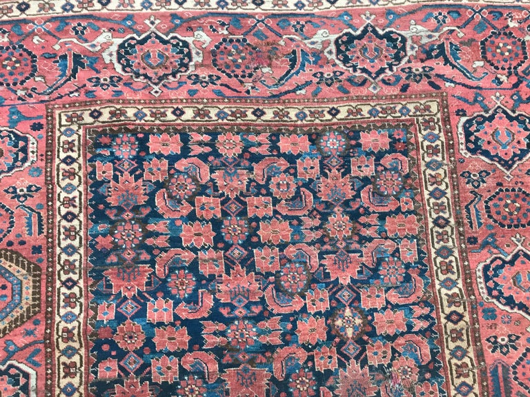 Hand-Knotted Nice Antique Long Beshir Afghan Rug For Sale