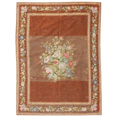 Nice Antique Needlepoint French Rug Tapestry
