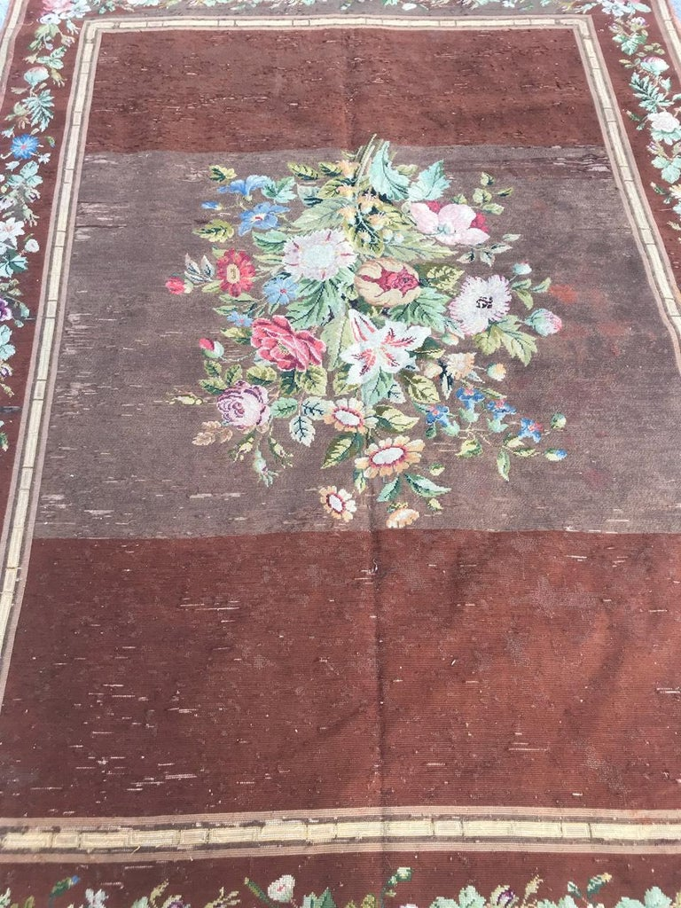 Nice Antique Needlepoint French Tapestry In Good Condition For Sale In Saint Ouen, FR