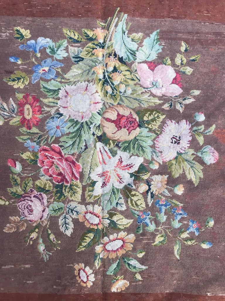 19th Century Nice Antique Needlepoint French Tapestry For Sale