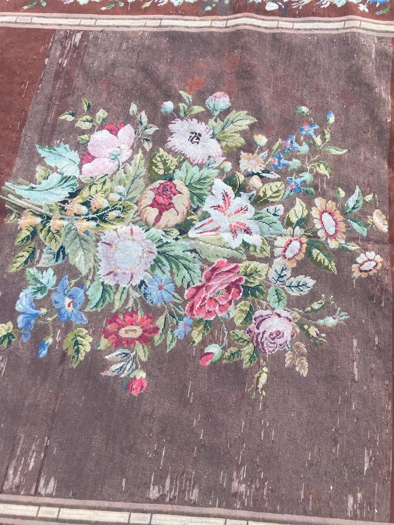 Wool Nice Antique Needlepoint French Tapestry For Sale