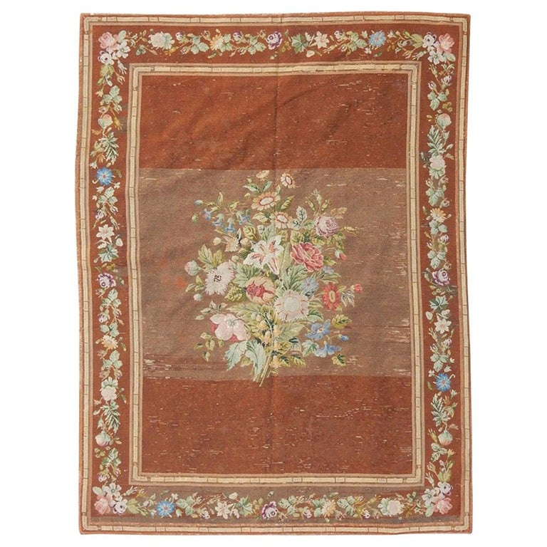 Nice Antique Needlepoint French Tapestry For Sale