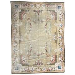 Nice Antique Savonnerie Design French Mechanical Velvet Rug
