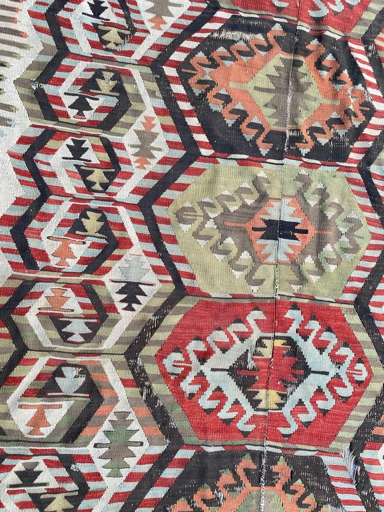 Hand-Woven Nice Antique Turkish Long Kilim For Sale