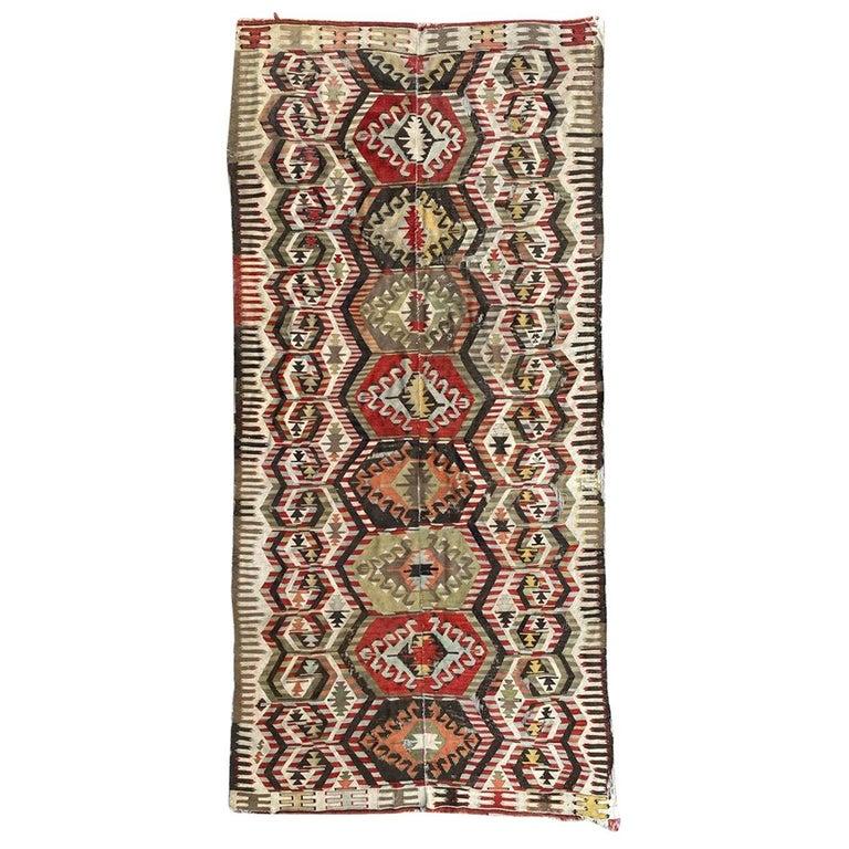 Nice Antique Turkish Long Kilim For Sale