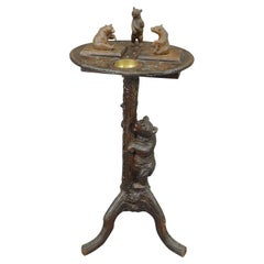 Nice Black Forest Carved Smoking Side Table with Bears