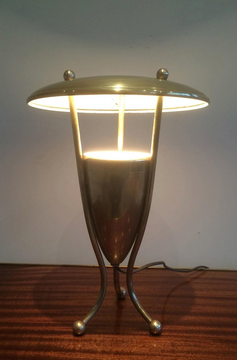 French Nice Brass Lamp, circa 1950 For Sale