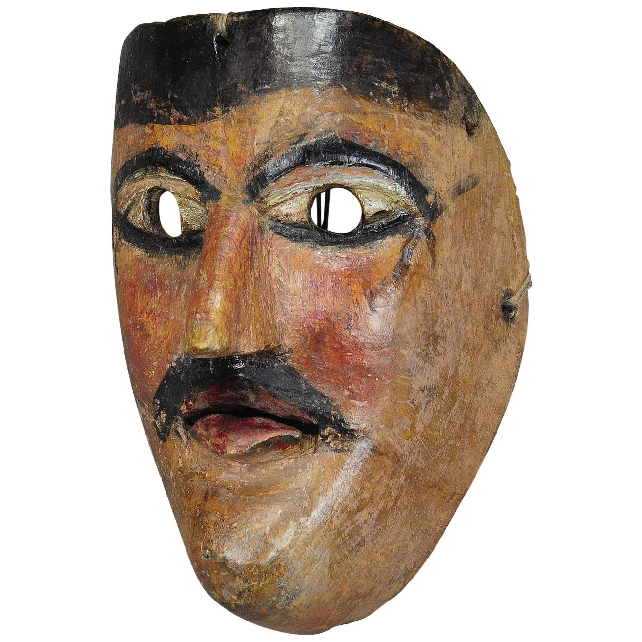 Nice Carved and Painted Tyrolian Carnival Fasnet Mask