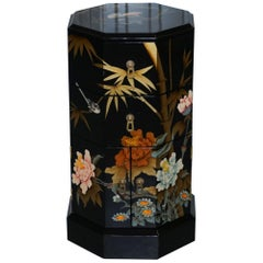 Nice Chinese Paint and Lacquered Floral & Birds Side Table Work Cabinet Drawers