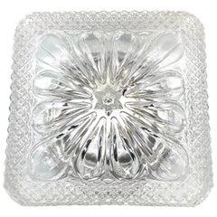 Nice Clear Glass Square Flower Shape Flushmount, Germany, 1960s