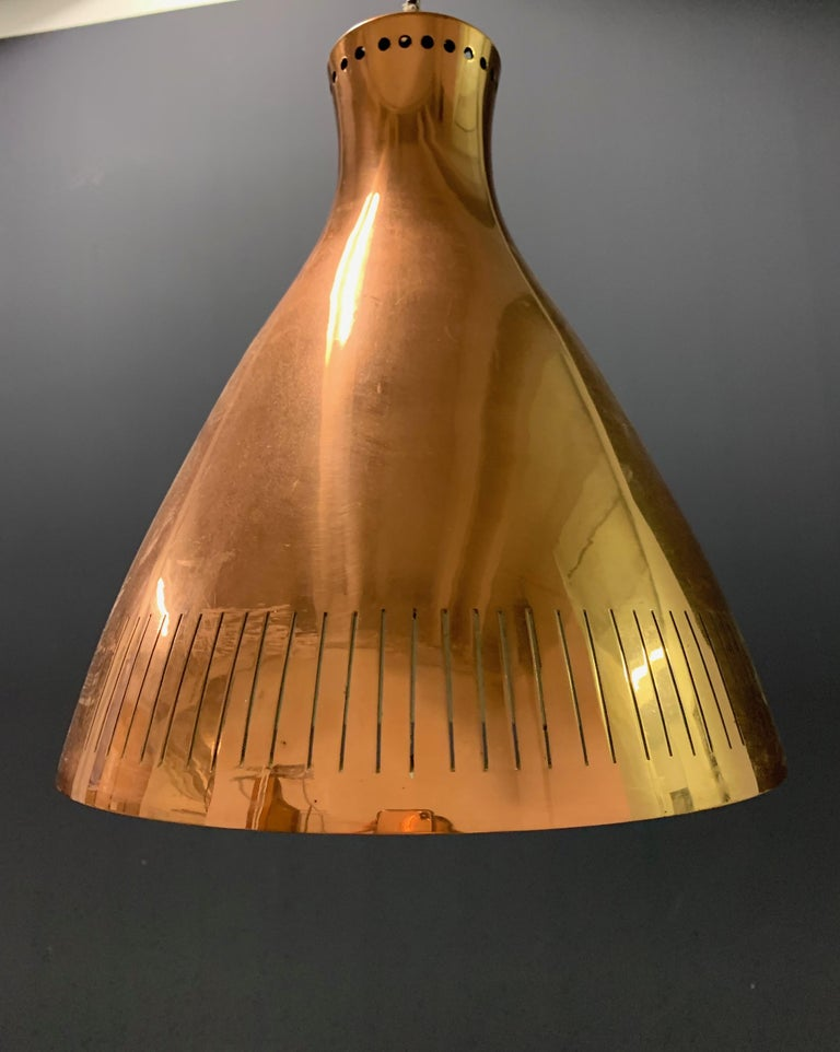 Nice Copper Ceiling Lamp Attributed to Paavo Tynell For Sale 4