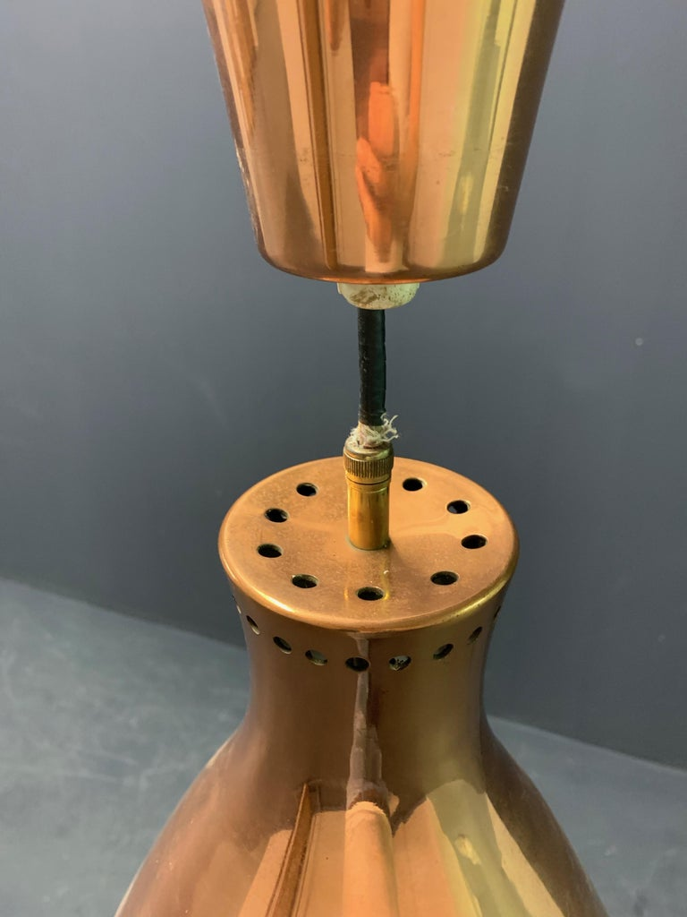 Finnish Nice Copper Ceiling Lamp Attributed to Paavo Tynell For Sale
