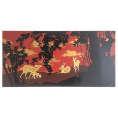 Nice Decorative Lacquered Panel depicting a Deer and Hinds in Décor, circa 1950