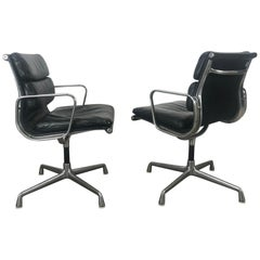 Nice early pair Leather and Aluminum Charles Eames Soft Pad Swivel Task Chairs