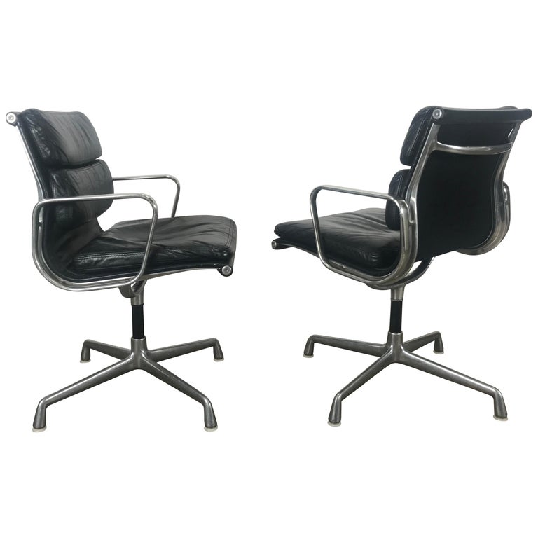 huge discount 0977a 2a9f8 Nice early pair Leather and Aluminum Charles Eames Soft Pad Swivel Task  Chairs