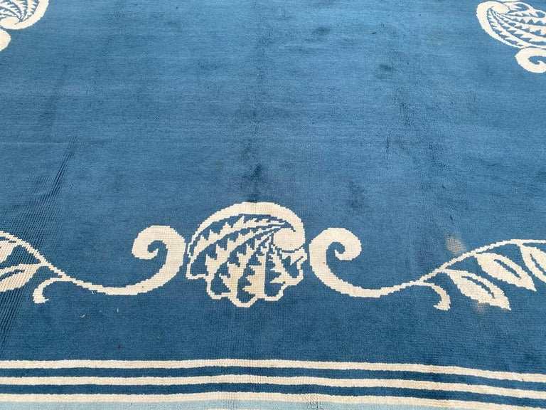 Hand-Knotted Nice French 1940 Art Deco Square Rug For Sale