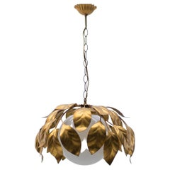 Nice Gilded Florentine Ceiling Lamp with Opaline Glass Globe Shade, Italy, 1960s