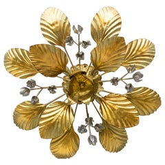 Nice Gilded Florentine Wall or Ceiling Lamp by Hans Kögl, Germany, 1960s