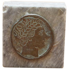 Nice Grand Tour Roman Head Marble and Bronze Printing Press Stamp Large Sized
